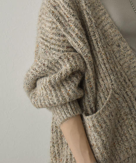 knit-02141 ミックスヤーン トグルボタンカーディガン ベージュ カーキ ネイビー