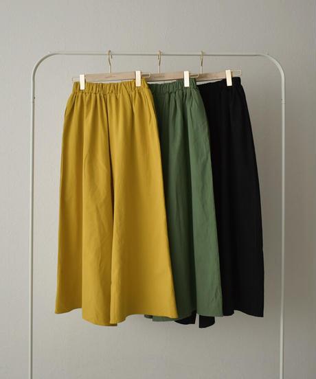 bottoms-02110 リネン混 リラックスワイドパンツ グリーン マスタード ブラック