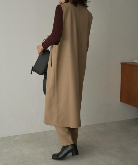 9月下旬~10月上旬入荷分 予約販売 tops-04106 日本製 ウール調サージ生地 ロングベスト
