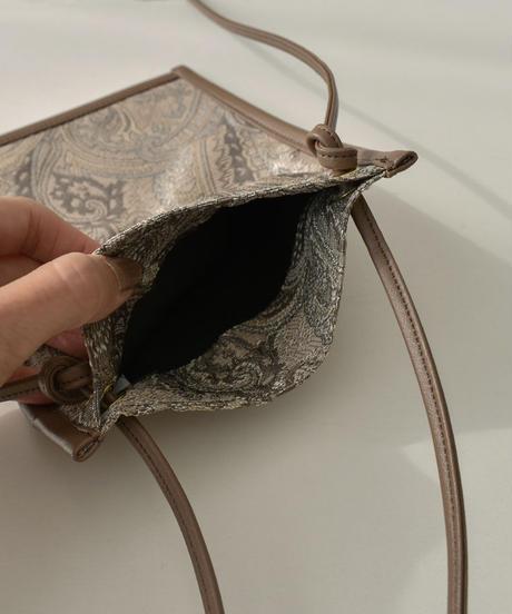 nh-bag2-02545 日本製 ペイズリー柄 ジャガード×エコレザー ポシェット