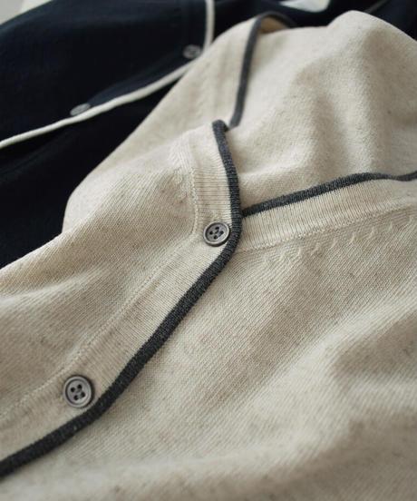 tops-02256 リネン混 バイカラー サマーニット カーディガン オフホワイト キナリ モカ ネイビー