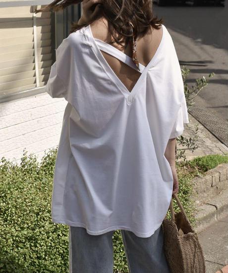nh-tops-02074 バックVカット オーバーサイズTシャツ ホワイト ブラック