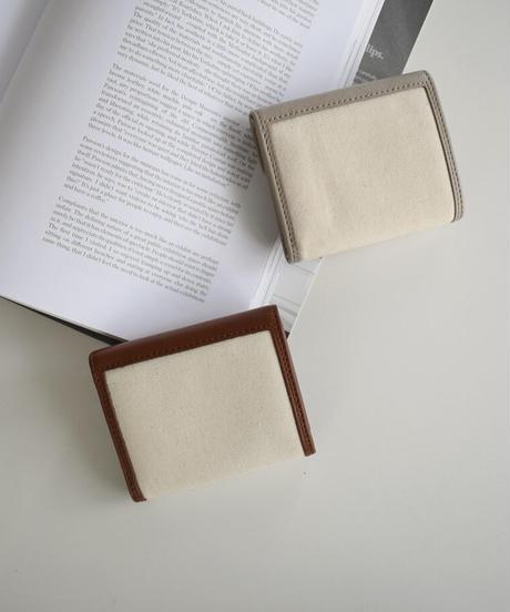 leather-09001 牛革 × キャンバス レターデザイン 財布 グレージュ ブラウン