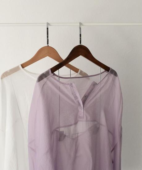 nh-tops-02147 シフォン ヘンリーネック シアーシャツ ホワイト ラベンダー