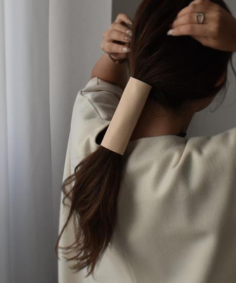nh-hair2-02002 日本製  レザー ヘアカフ ヌメ ブラウン ☆WA04