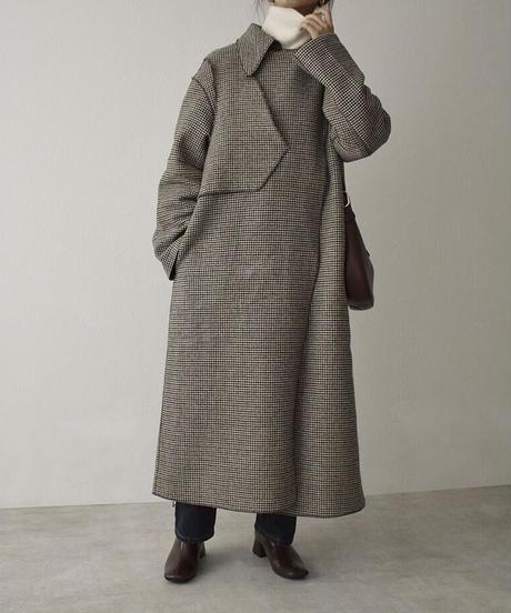 11月下旬入荷分 予約販売 coat-13002 ガンクラブチェック×グレー リバーシブル ウールトレンチコート