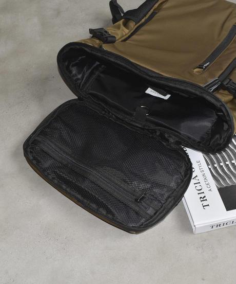 bag2-02494  防水 多機能ナイロンバックパック  ブラック カーキブラウン