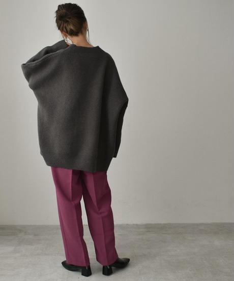 knit-02119 Vネック ハイゲージ ボリュームカーディガン ダークブラウン ダークグレー ブラック
