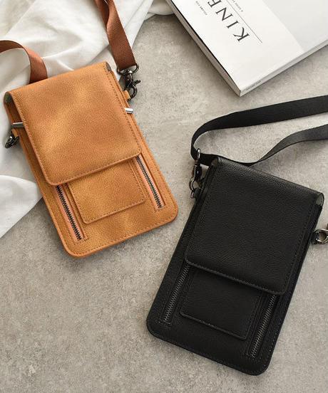 wallet-02076 ダブルジッパー フェイクレザー ウォレットケースショルダー ブラウン ブラック