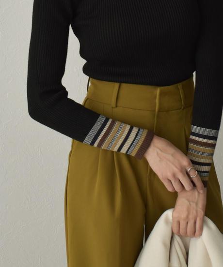 knit-02138 マルチボーダースリーブ タートルニット