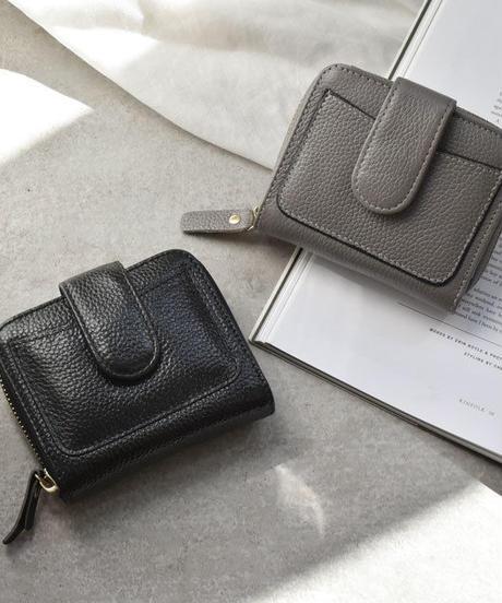wallet-02074 本革レザー シボ加工 ミニ財布 小銭入れ付き 二つ折り ミニウォレット