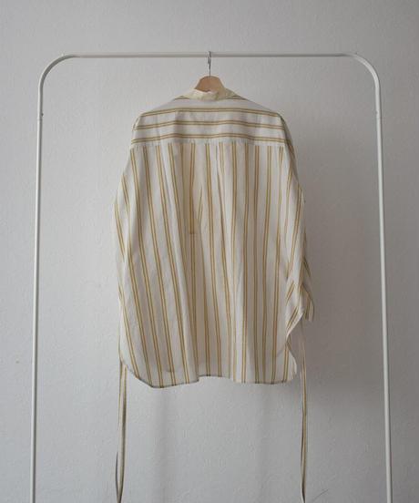 tops-04084 日本製 リネン混マルチストライプ ビブカラーシャツ マスタード ネイビー