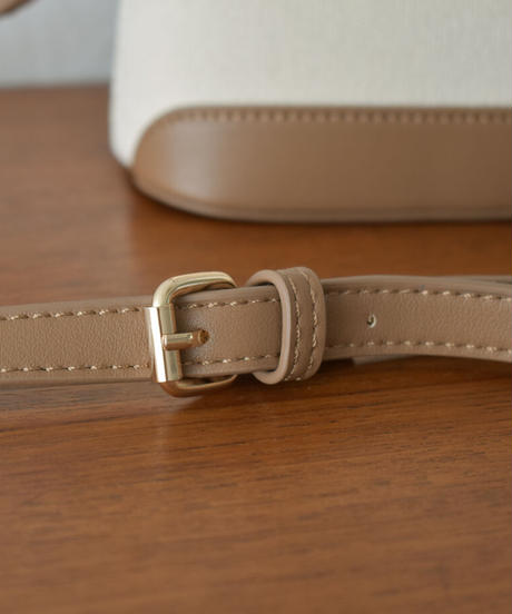 bag2-02570 キャンバス×エコレザーバッグ エクリュ モカ ブラウン ブラック