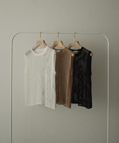 nh-tops-02255 メッシュネット タンクトップ ホワイト モカ ブラック