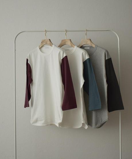 tops-02230 オーバーサイズ ベースボールTシャツ オフ×グレーブルー オフ×バーガンディ 杢グレー×スミクロ