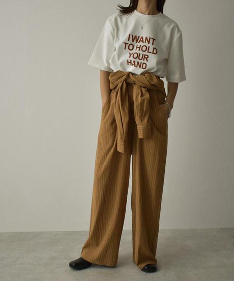 nh-tops-02265 フロッキー ロゴTシャツ ホワイト キャメル ダークグレー