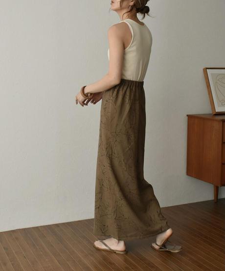 bottoms-04043 日本製 ドローイングフラワー フレアスカート キナリ ピスタチオ モカ 丈2サイズ
