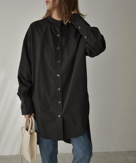 ブラックのみ4月上旬入荷分 予約販売 tops-04061 日本製 バンドカラー バックボリューム シャツ ホワイト ブラック