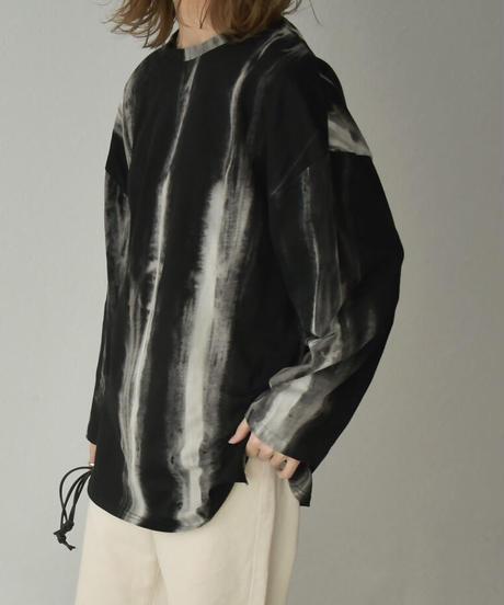 nh-tops-02208 タイダイ ロングTシャツ ブラック