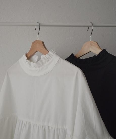 tops-02205 バックリボン ボリュームシャツ ホワイト ブラック