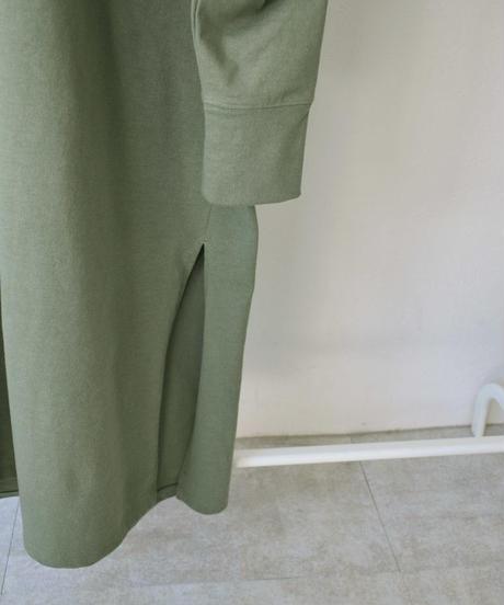 onepiece-04013 日本製 スリットスリーブ Tシャツワンピース チャコール ブルーベリー ピスタチオ