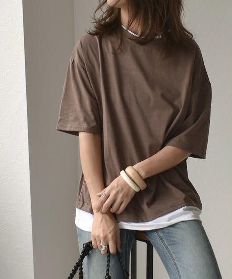 nh-tops-02091 オーバーサイズ レイヤードTシャツ ミント モカ