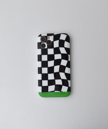 nh-iphone-02610 ブラック チェッカーフラッグ iPhoneケース
