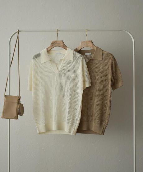 tops-02251 リネン メッシュ ポロシャツ オフホワイト モカ
