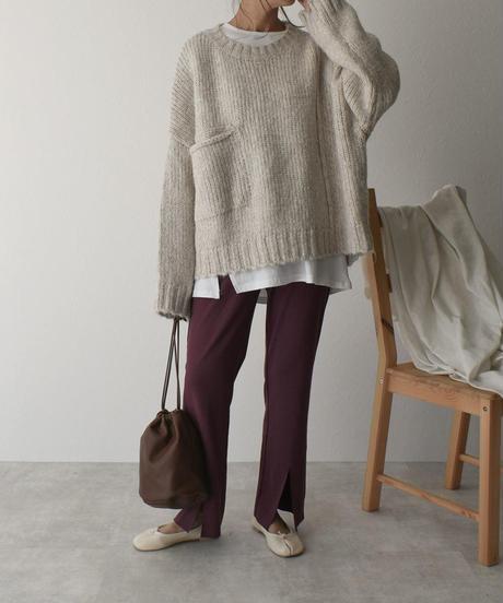 11月中旬入荷分 予約販売 knit-02045 フロントポケット オーバーニットプルオーバー