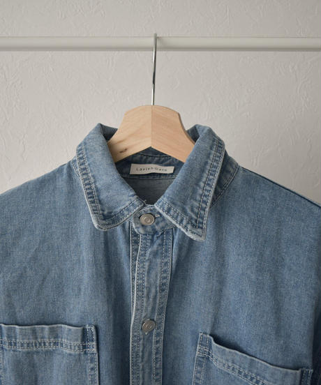 tops-02203 ダブルポケット  ウォッシュ オーバーデニムシャツ