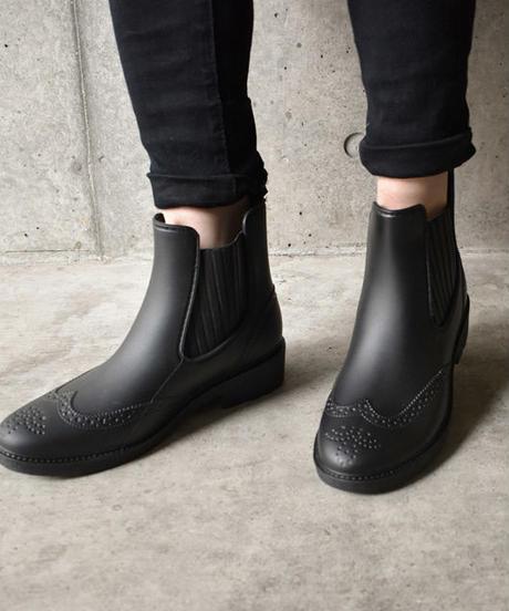 rainshoes-02006 ウィングチップデザイン サイドゴア レインブーツ レインシューズ ブラック