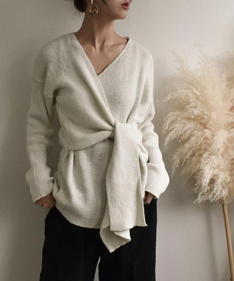 knit-02001 カシュクールニット モカ オフホワイト グレー