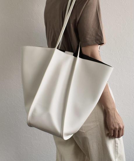 bag2-02468 エコレザー トートバッグ ホワイト ベージュ