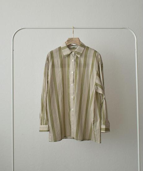 tops-02239 ストライプシアーシャツ ベージュ×グリーンティー
