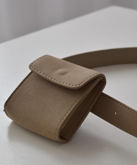bag2-02566 エコスエード 2Way ミニバッグ ベルト付き ベージュ