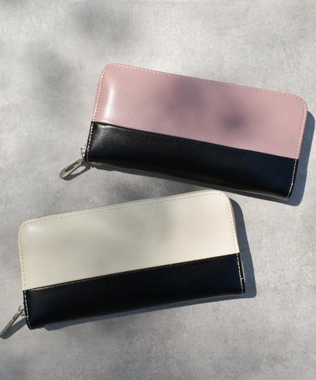 wallet-02057 バイカラー ラウンドジップ 長財布 小銭入れ付き ウォレット