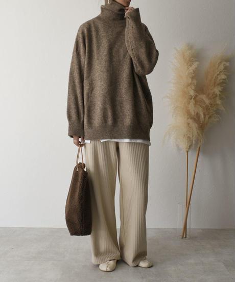 knit-02054  オーバーサイズタートルニット ベージュミックス ブラウンミックス ココアブラウン