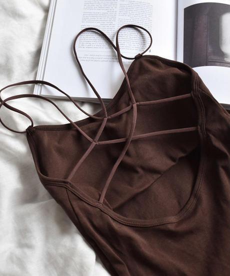nh-tops-02045 バッククロス ブラトップキャミソール ブラウン ホワイト ブラック