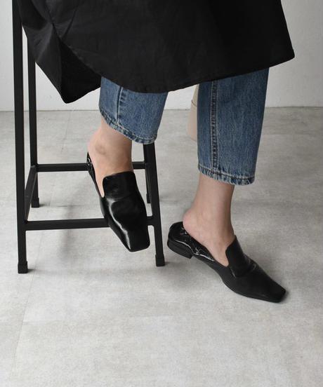 shoes-02108 スクエアトゥ スリッポン ブラック ホワイト