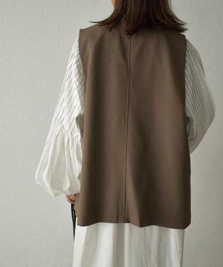 jacket-02004 ノーカラーダブルボタンベスト モカブラウン ブラック