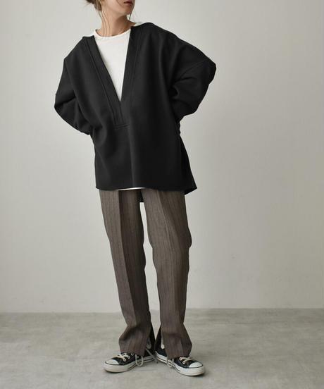 tops-04074 日本製 ウール混 深Vニット プルオーバー アイボリー ブラック グリーン