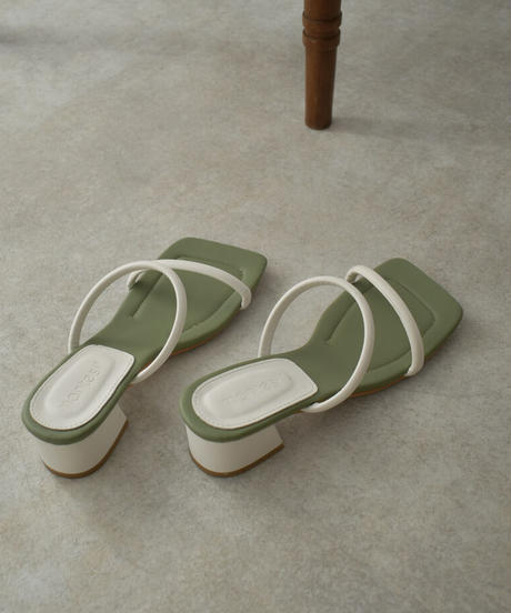 shoes-02128 ダブルストラップ サンダル ピスタチオ ブラック
