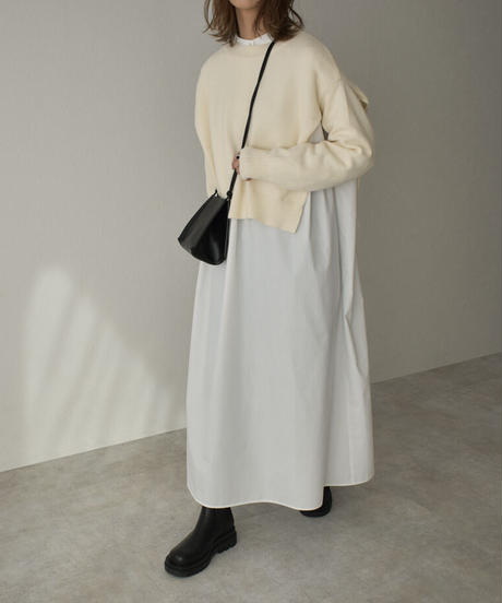 knit-02130 サイドオープン ショート ニット プルオーバー オフホワイト ブラック