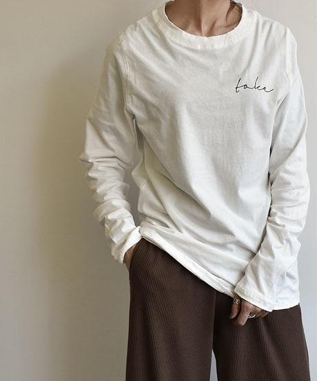 tops-02017  ヴィンテージ風 ロゴデザインロングTシャツ ホワイト  ブラウン ブラック