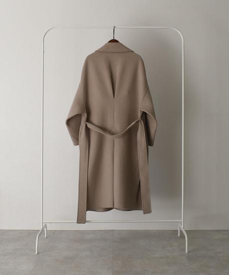 coat-02026 バックタック ウールガウンコート リバー仕立て グレージュ