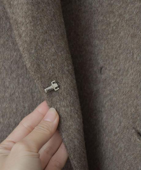 12月上旬入荷分 予約販売  coat-02031  カシミア混 ウールコート リバー仕立て ココアミックス