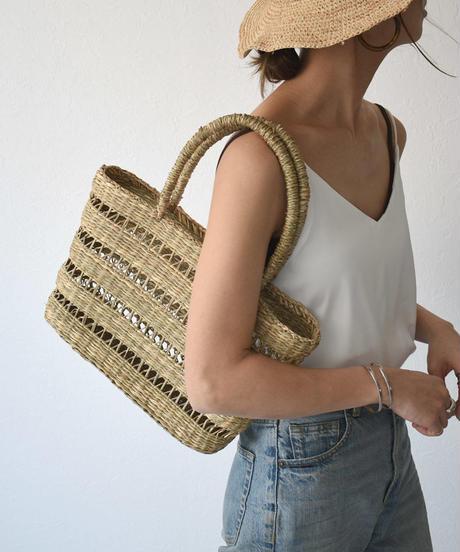 bag2-02510 透かし編み  かごバッグ C