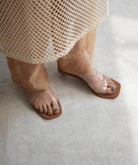 shoes-02099 スクエアトゥ ニュアンスミュール  クリアサンダル