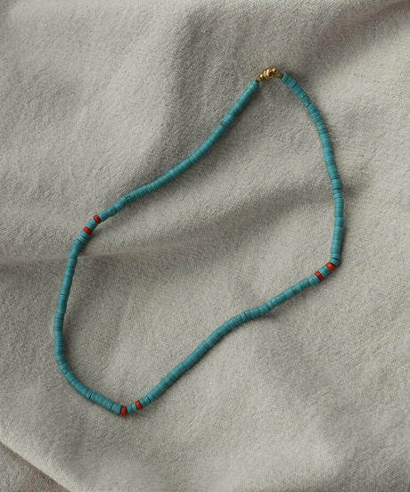 mb-necklace2-02054 turquoise ビーズネックレス