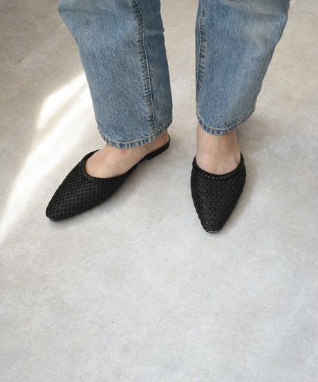 shoes-02106 メッシュ スリッパサンダル ブラック エクリュ